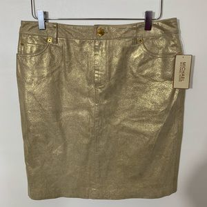 NWT Michael Kors Gold Metallic Leather skirt, 10